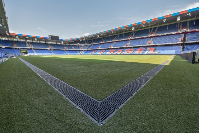 Playing field renovation in the St. Jakob Park stadium in Basel, Switzerland